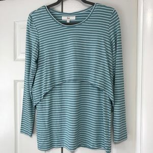 NWOT Ripe Lift Up Long Sleeve Striped Nursing Top